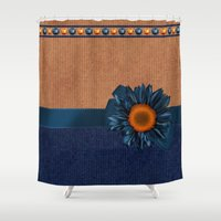 tote bag Shower Curtains featuring False Knitted Effect Sunkiss Tote Bag With In Blue And Biscuit by Moonlake Designs