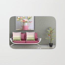 Coffee, Tea or Flowers Vignette Bath Mat