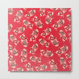 Boho red floral pattern hand drawn Metal Print