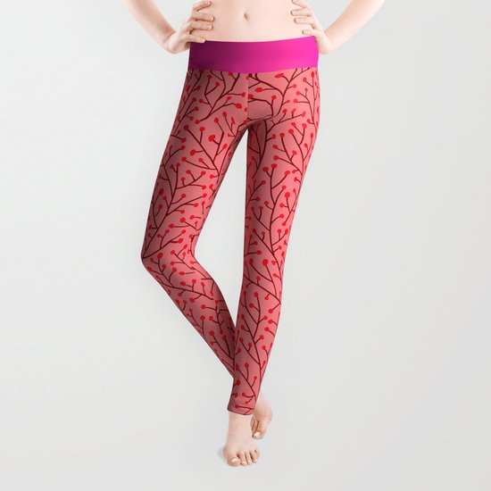 Pink Berry Branches Leggings