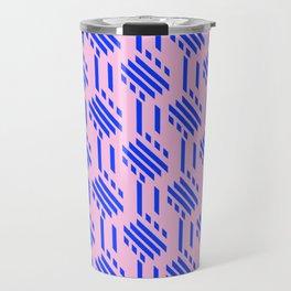 Imperfect Geometric Stripes Pattern - Pink Blue Travel Mug