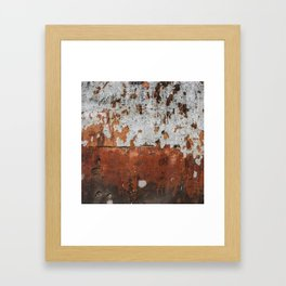 bygones - abstract of crumbling wall in hues of fire Framed Art Print