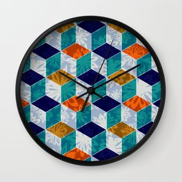 Cube Floral Wall Clock