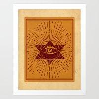 third eye Art Prints featuring Third Eye by Stranger Designs