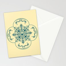 Decorative Pattern in Creme and Blue Stationery Cards