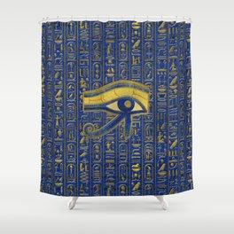 Gold Egyptian Eye of Horus - Wadjet Lapis Lazuli Shower Curtain