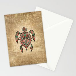Vintage Red and Green Haida Spirit Sea Turtle Stationery Cards