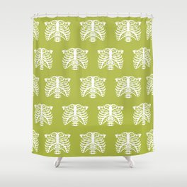 Human Rib Cage Pattern Chartreuse Green Shower Curtain