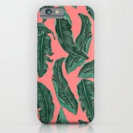 Banana leaves tropical leaves green pink #homedecor iPhone Case
