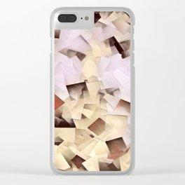 Geometric Stacks Neutrals Clear iPhone Case