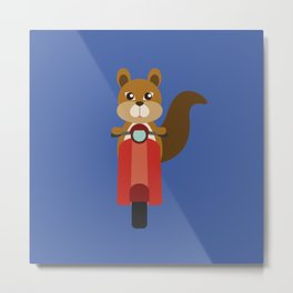 Squirrel on Motor Scooter Metal Print