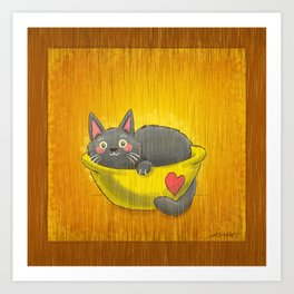 Cat Curled Up In a Bowl! Art Print