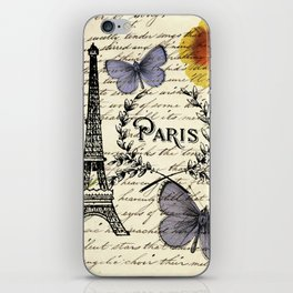 french botanical print purple butterfly lavender floral paris eiffel tower iPhone Skin