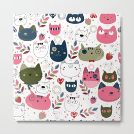 Pattern with Hand Drawn Doodle Cats Metal Print