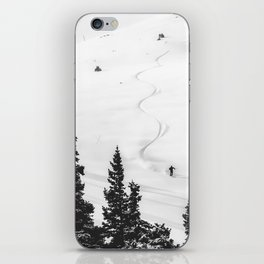 Backcountry Skier // Fresh Powder Snow Mountain Ski Landscape Black and White Photography Vibes iPhone Skin