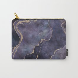 Purple Watercolor Marble Gemstone Glamour Carry-All Pouch
