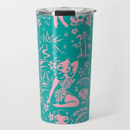 Tiki Temptress in Pink and Turquoise Travel Mug