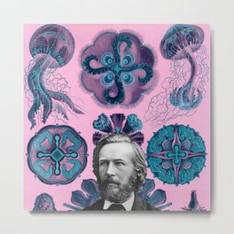Trippy Haeckel Vibes Under the Sea Metal Print