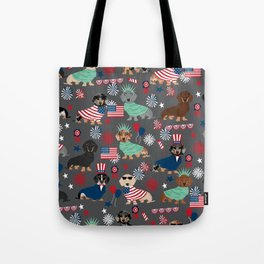 Dachshund july 4th patriotic dog breed pattern doxie dachsie lovers america Tote Bag