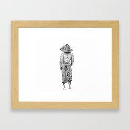 A Man in an asian conical hat Framed Art Print