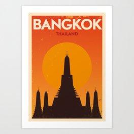Bangkok City Retro Poster Art Print