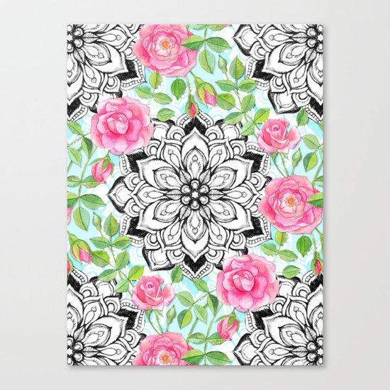 Pink Roses and Mandalas on Sky Blue Lace Canvas Print