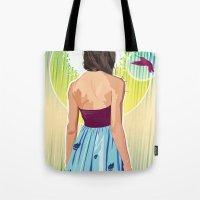 gorillaz Tote Bags featuring Humming Bird by Matt Fontaine Creative
