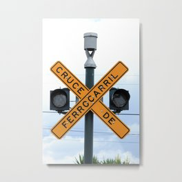 Railway Crossing Sign Metal Print