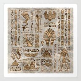 Egyptian hieroglyphs and deities -Vintage Gold Art Print