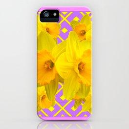 Golden Yellow Daffodils Bouquet Garden Lilac Art iPhone Case