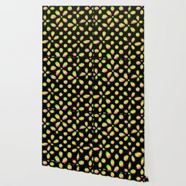 The pattern of neon blots. Abstract pattern of rainbow blots on a black background. Wallpaper
