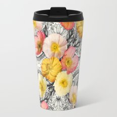 Collage of Poppies and Pattern Travel Mug