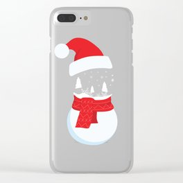 Snow Man versus Snow Ball Merry Christmas Clear iPhone Case