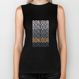 Bonjour in Bold Typography and Fall Colors Biker Tank