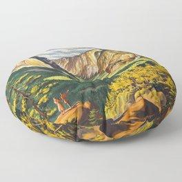 Yosemite National Park Vintage Travel Poster Landscape Illustration Floor Pillow