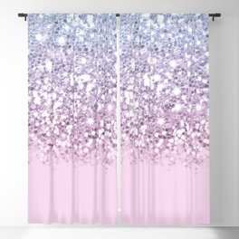 Sparkly Unicorn Pink Glitter Ombre Blackout Curtain