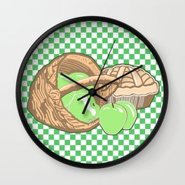 Basket of Granny Smith Apples & Pie Wall Clock