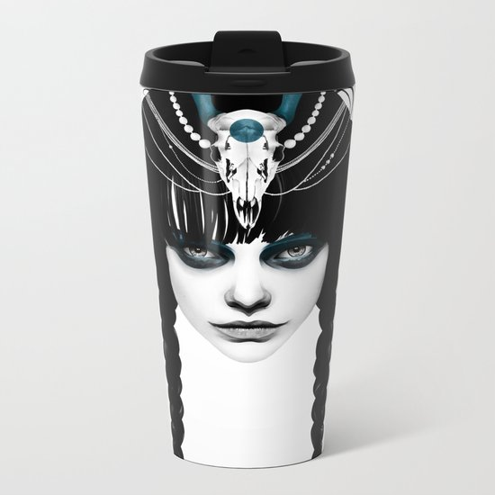Wakeful Warrior - In Blue Metal Travel Mug