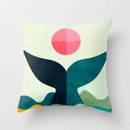 mid century whale sun sea Throw Pillow