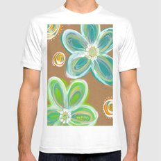 Funky Flowers MEDIUM White Mens Fitted Tee