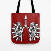 lungs Tote Bags featuring lungs by khet13