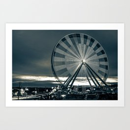 Branson Ferris Wheel at Dusk on the Strip - Sepia Art Print
