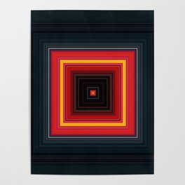 Bright Red Square Design Poster