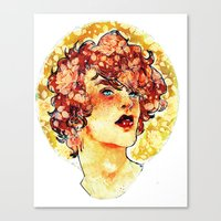 enjolras Canvas Prints featuring enjolras watercolour by chazstity