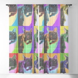 Poster with cat in pop art style Sheer Curtain