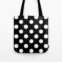 polka dots Tote Bags featuring Polka Dots (White/Black) by 10813 Apparel