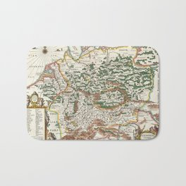 Vintage Map of Germany and Forests, 1657 Bath Mat