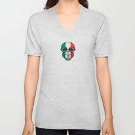 Baby Owl with Glasses and Mexican Flag Unisex V-Neck