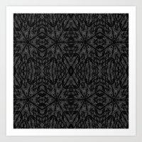 gray pattern Art Prints featuring Slate Gray Black Pattern by 2sweet4words Designs