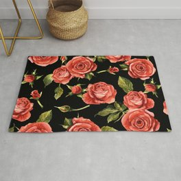 Vintage Red Roses On Black Rug
